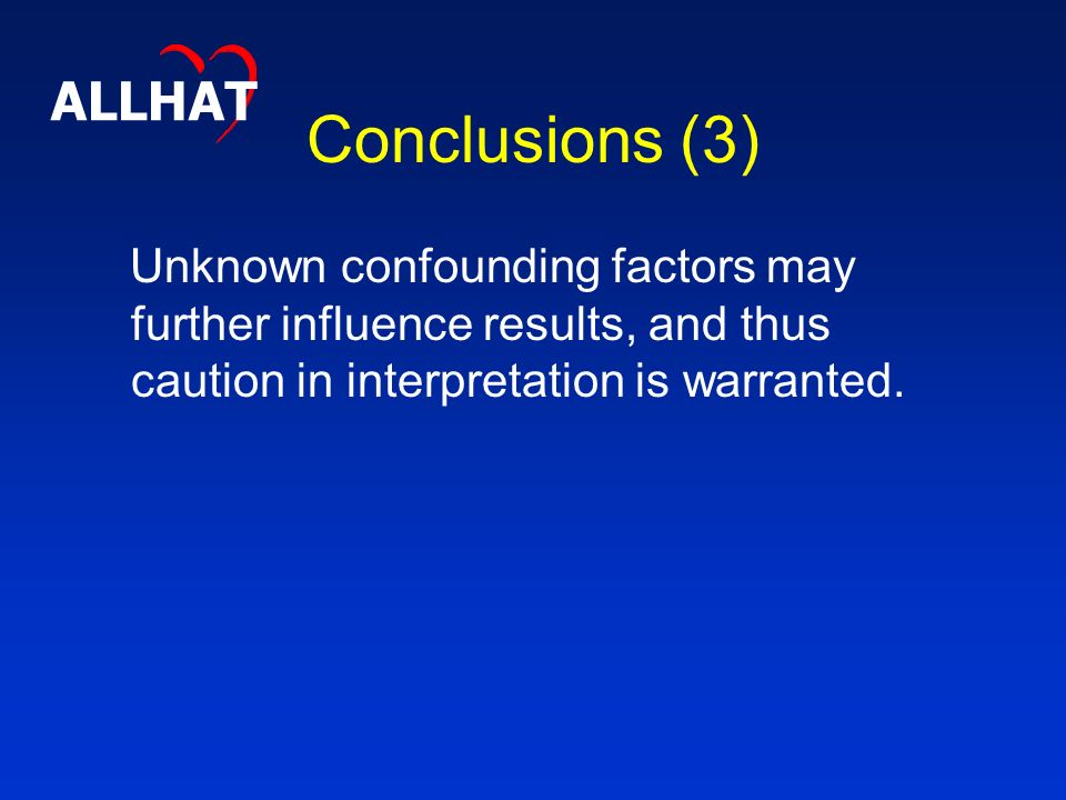 Conclusions (3) Unknown confounding factors may further influence results, and thus caution in interpretation is warranted.
