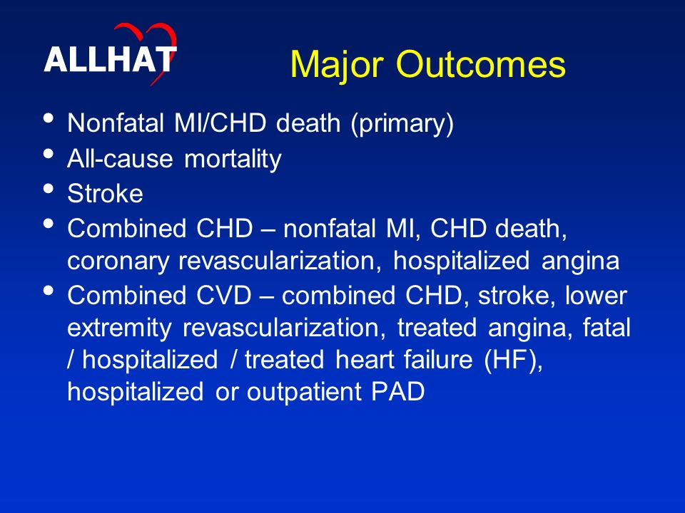 Major Outcomes Nonfatal MI/CHD death (primary) All-cause mortality Stroke Combined CHD – nonfatal MI, CHD death, coronary revascularization, hospitalized angina Combined CVD – combined CHD, stroke, lower extremity revascularization, treated angina, fatal / hospitalized / treated heart failure (HF), hospitalized or outpatient PAD ALLHAT
