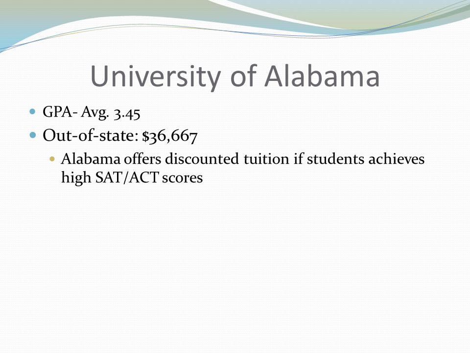 University of Alabama GPA- Avg.