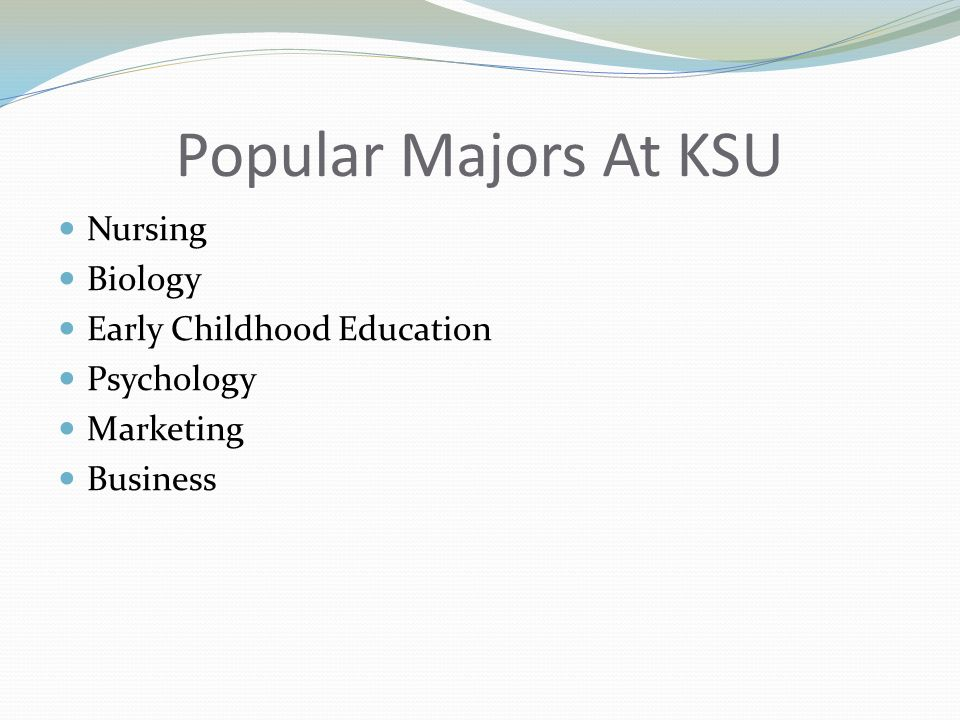 Popular Majors At KSU Nursing Biology Early Childhood Education Psychology Marketing Business