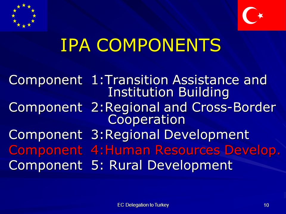 EC Delegation to Turkey 10 IPA COMPONENTS Component 1:Transition Assistance and Institution Building Component 2:Regional and Cross-Border Cooperation Component 3:Regional Development Component 4:Human Resources Develop.