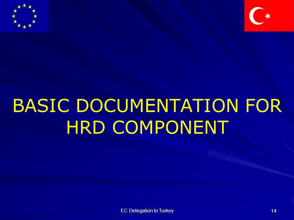 EC Delegation to Turkey 14 BASIC DOCUMENTATION FOR HRD COMPONENT