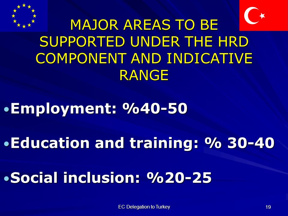 EC Delegation to Turkey 19 MAJOR AREAS TO BE SUPPORTED UNDER THE HRD COMPONENT AND INDICATIVE RANGE Employment: %40-50 Employment: %40-50 Education and training: % Education and training: % Social inclusion: %20-25 Social inclusion: %20-25