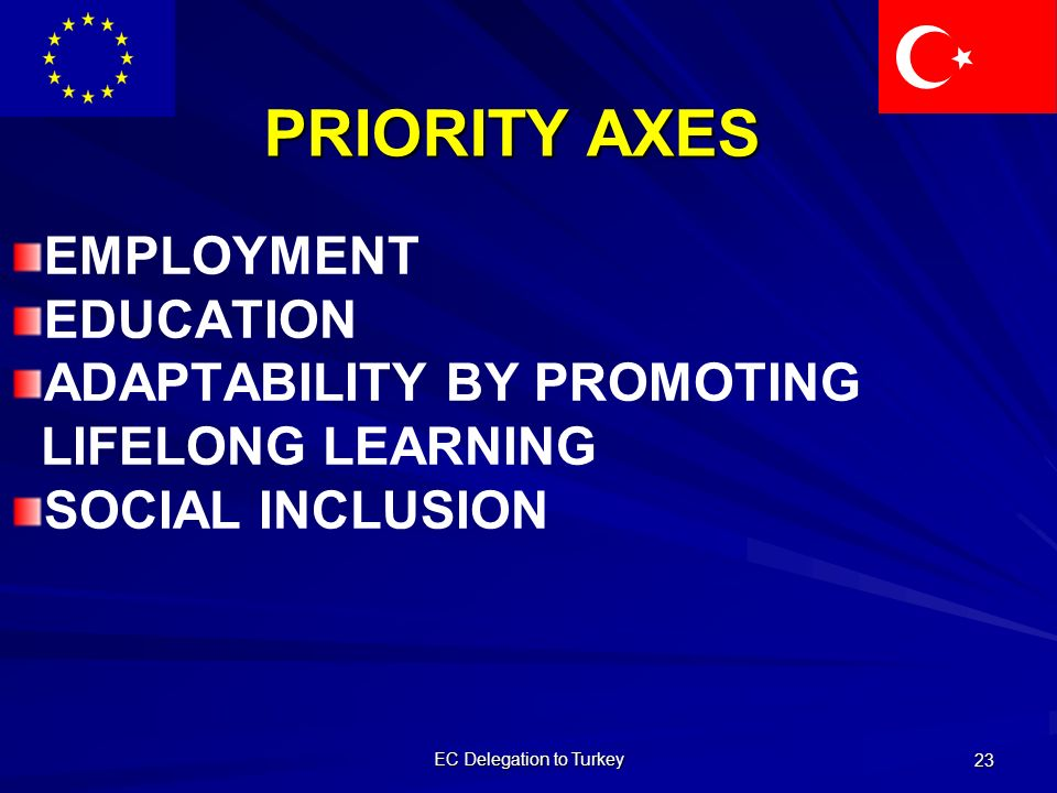 EC Delegation to Turkey 23 PRIORITY AXES EMPLOYMENT EDUCATION ADAPTABILITY BY PROMOTING LIFELONG LEARNING SOCIAL INCLUSION
