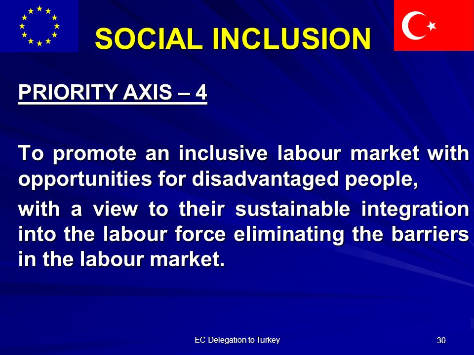 EC Delegation to Turkey 30 SOCIAL INCLUSION PRIORITY AXIS – 4 To promote an inclusive labour market with opportunities for disadvantaged people, with a view to their sustainable integration into the labour force eliminating the barriers in the labour market.