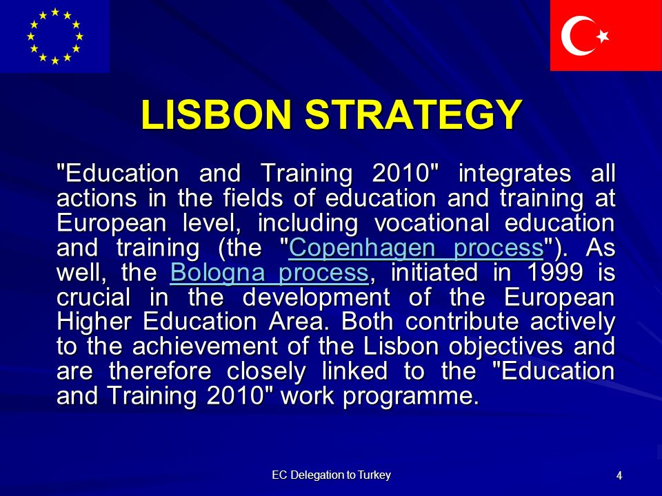 EC Delegation to Turkey 4 LISBON STRATEGY Education and Training 2010 integrates all actions in the fields of education and training at European level, including vocational education and training (the Copenhagen process ).