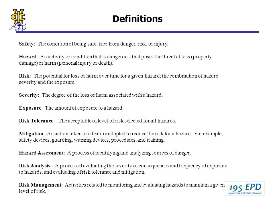 Risk Analysis For Engineering Design J M Mccarthy Fall 2003 Definitions Hazard Analysis Hazard Analysis Report Example For Mini Baja Nationally Recognized Ppt Download