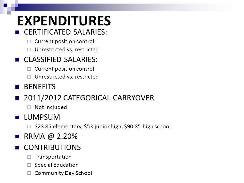 CERTIFICATED SALARIES:  Current position control  Unrestricted vs.