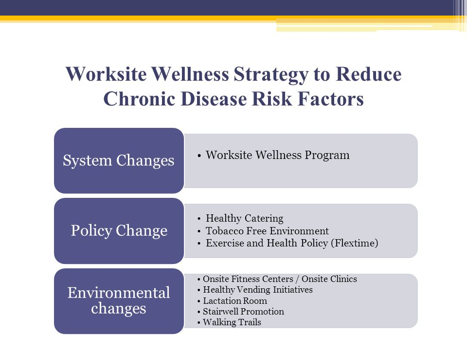 Worksite Wellness Strategy to Reduce Chronic Disease Risk Factors Worksite Wellness Program System Changes Healthy Catering Tobacco Free Environment Exercise and Health Policy (Flextime) Policy Change Onsite Fitness Centers / Onsite Clinics Healthy Vending Initiatives Lactation Room Stairwell Promotion Walking Trails Environmental changes