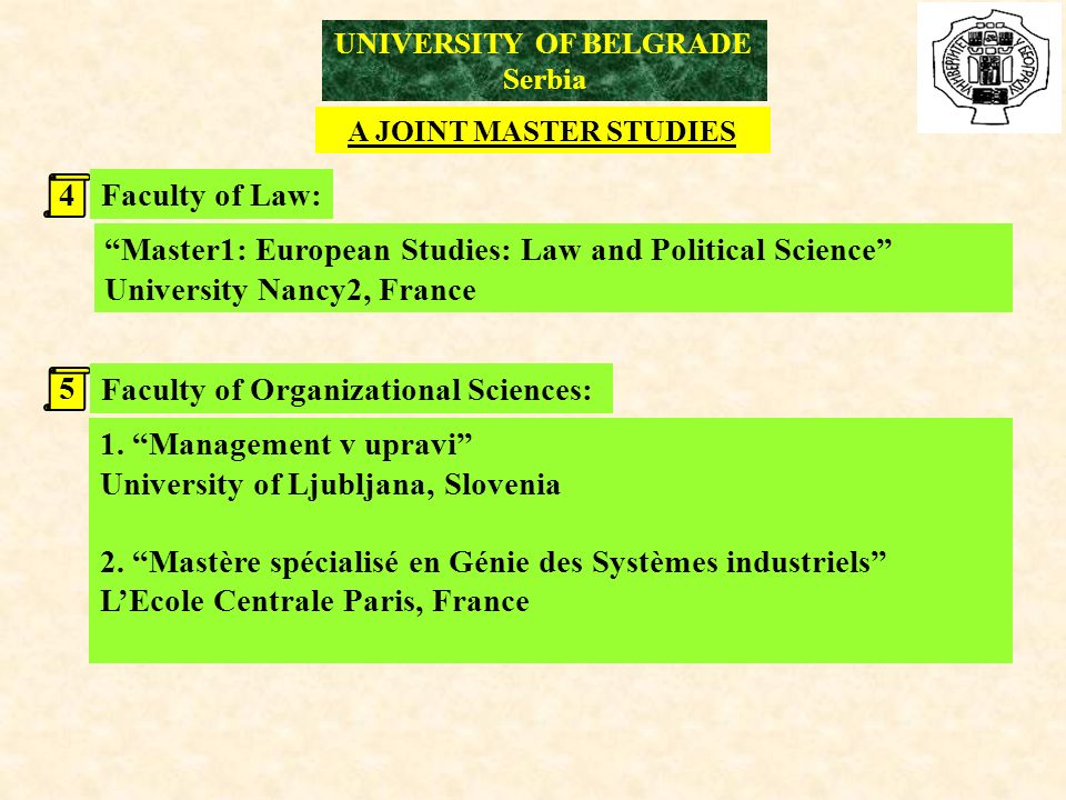 UNIVERSITY OF BELGRADE Serbia A JOINT MASTER STUDIES 4 5 Faculty of Law: Faculty of Organizational Sciences: Master1: European Studies: Law and Political Science University Nancy2, France 1.