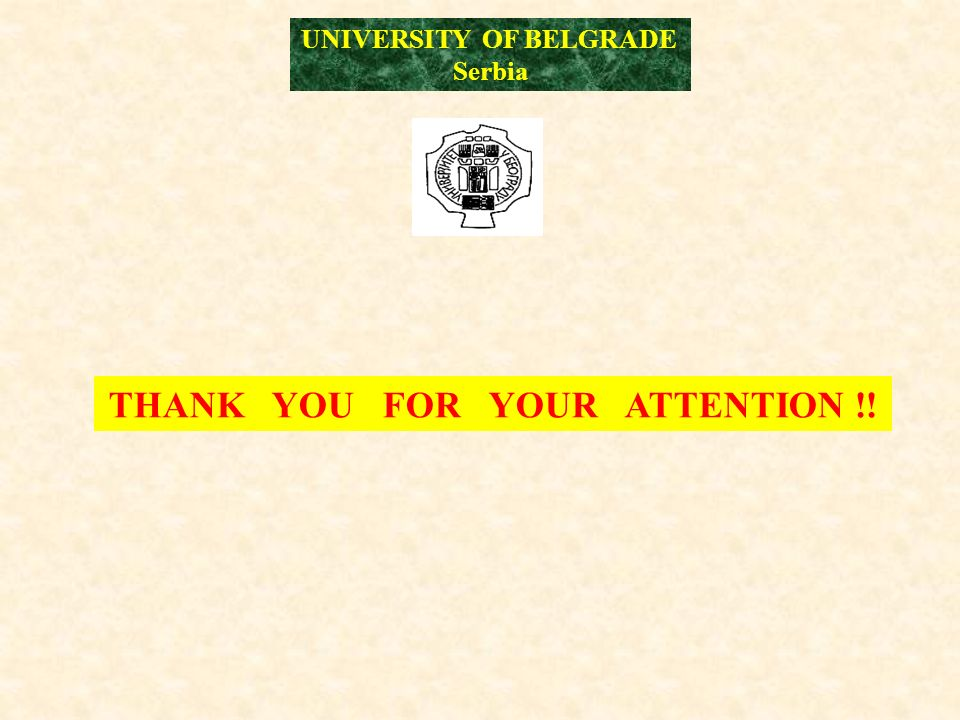 THANK YOU FOR YOUR ATTENTION !! UNIVERSITY OF BELGRADE Serbia
