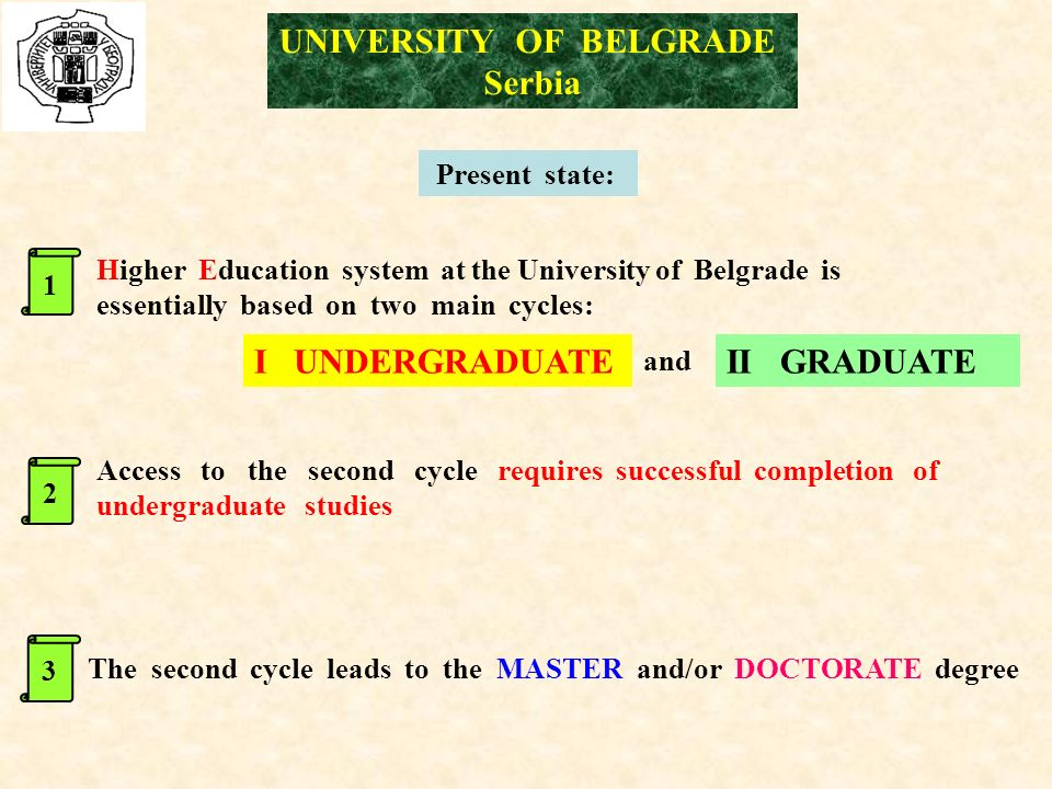 Present state: Higher Education system at the University of Belgrade is essentially based on two main cycles: The second cycle leads to the MASTER and/or DOCTORATE degree Access to the second cycle requires successful completion of undergraduate studies II GRADUATE and I UNDERGRADUATE 123 UNIVERSITY OF BELGRADE Serbia