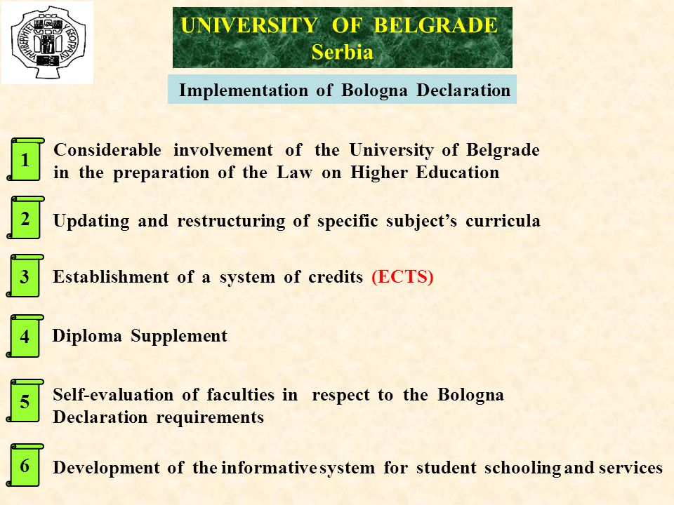 UNIVERSITY OF BELGRADE Serbia 1 Diploma Supplement Establishment of a system of credits (ECTS) Updating and restructuring of specific subject's curricula Considerable involvement of the University of Belgrade in the preparation of the Law on Higher Education Development of the informative system for student schooling and services Self-evaluation of faculties in respect to the Bologna Declaration requirements Implementation of Bologna Declaration