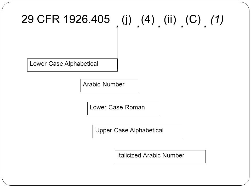29 CFR (j) (4) (ii) (C) (1) Lower Case Alphabetical Italicized Arabic Number Upper Case Alphabetical Lower Case Roman Arabic Number