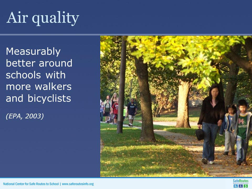 Air quality Measurably better around schools with more walkers and bicyclists (EPA, 2003)