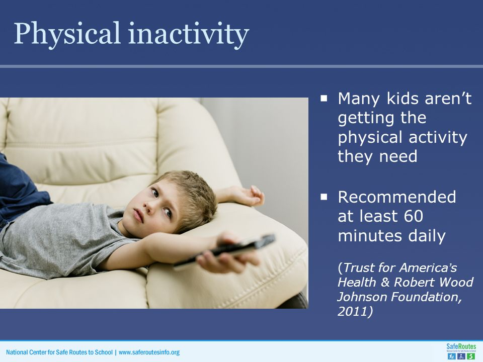 Physical inactivity  Many kids aren't getting the physical activity they need  Recommended at least 60 minutes daily (Trust for America's Health & Robert Wood Johnson Foundation, 2011)
