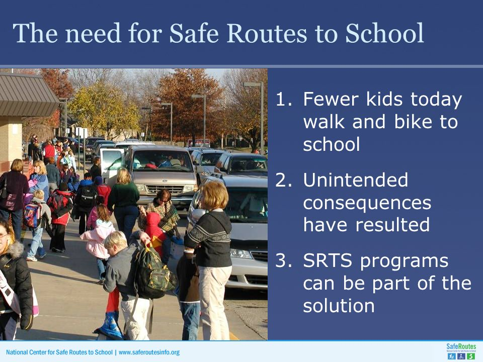 The need for Safe Routes to School 1.Fewer kids today walk and bike to school 2.Unintended consequences have resulted 3.SRTS programs can be part of the solution