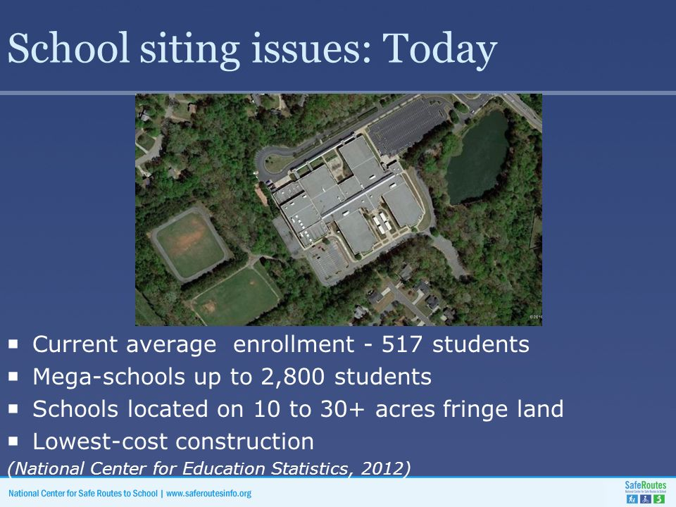 School siting issues: Today  Current average enrollment students  Mega-schools up to 2,800 students  Schools located on 10 to 30+ acres fringe land  Lowest-cost construction (National Center for Education Statistics, 2012)