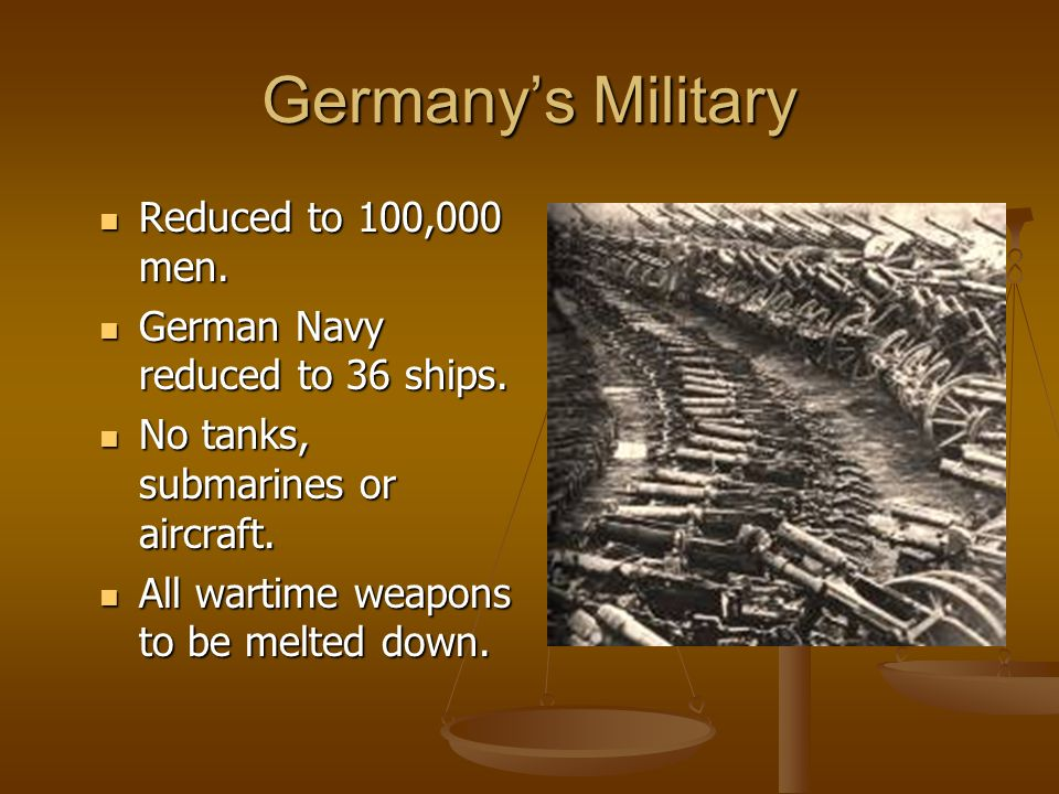 What happens to Germany's Military.