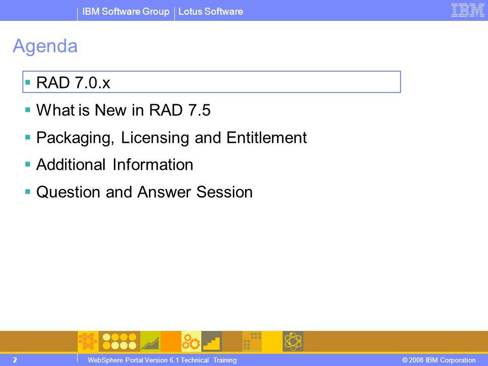 IBM Software Group © 2008 IBM Corporation ® RAD Portlet and