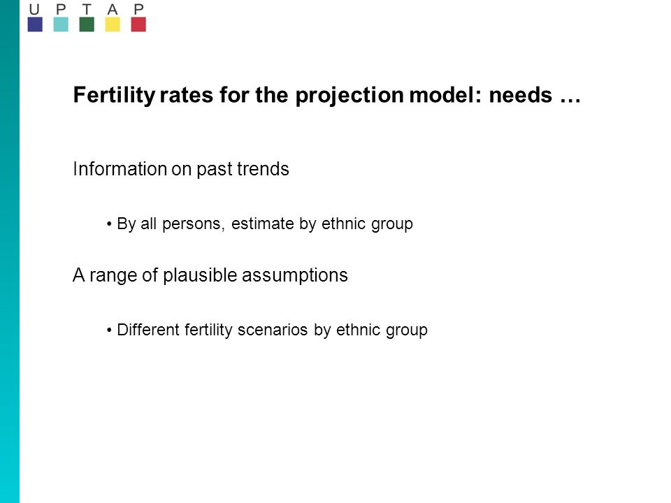Fertility rates for the projection model: needs … Information on past trends By all persons, estimate by ethnic group A range of plausible assumptions Different fertility scenarios by ethnic group