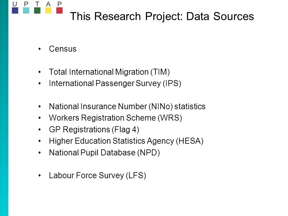 This Research Project: Data Sources Census Total International Migration (TIM) International Passenger Survey (IPS) National Insurance Number (NINo) statistics Workers Registration Scheme (WRS) GP Registrations (Flag 4) Higher Education Statistics Agency (HESA) National Pupil Database (NPD) Labour Force Survey (LFS)