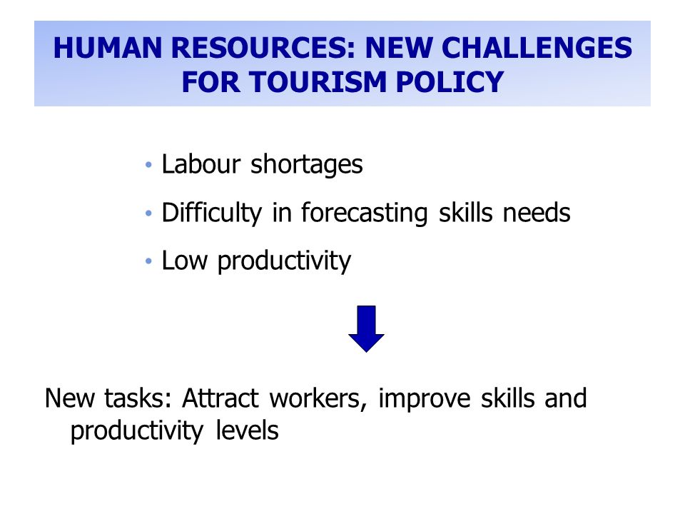 HUMAN RESOURCES: NEW CHALLENGES FOR TOURISM POLICY Labour shortages Difficulty in forecasting skills needs Low productivity New tasks: Attract workers, improve skills and productivity levels