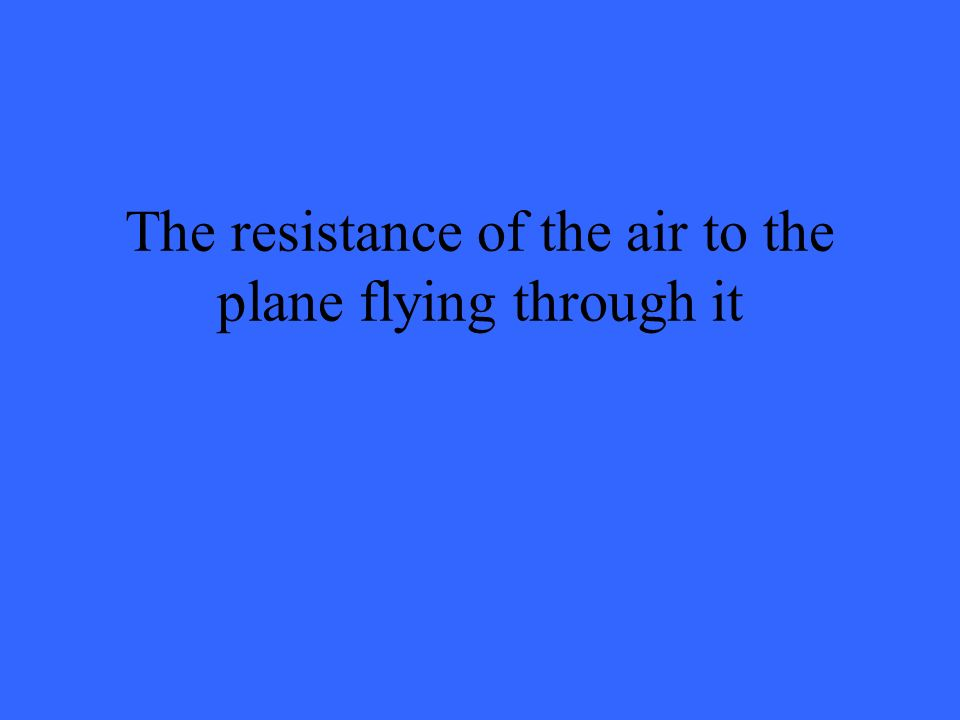 The resistance of the air to the plane flying through it