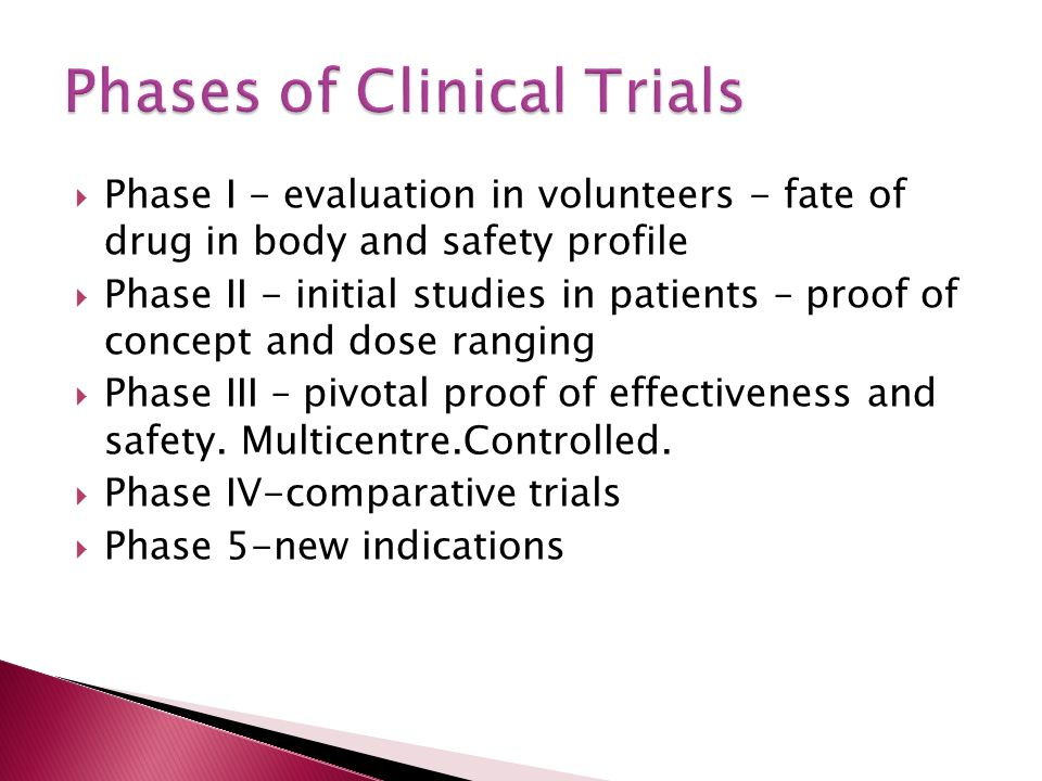  Phase I - evaluation in volunteers - fate of drug in body and safety profile  Phase II - initial studies in patients – proof of concept and dose ranging  Phase III – pivotal proof of effectiveness and safety.