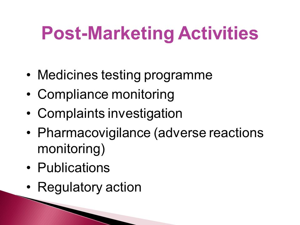 Post-Marketing Activities Medicines testing programme Compliance monitoring Complaints investigation Pharmacovigilance (adverse reactions monitoring) Publications Regulatory action