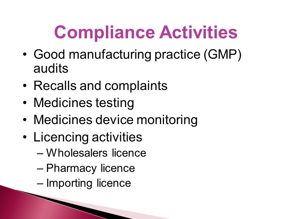 Compliance Activities Good manufacturing practice (GMP) audits Recalls and complaints Medicines testing Medicines device monitoring Licencing activities –Wholesalers licence –Pharmacy licence –Importing licence