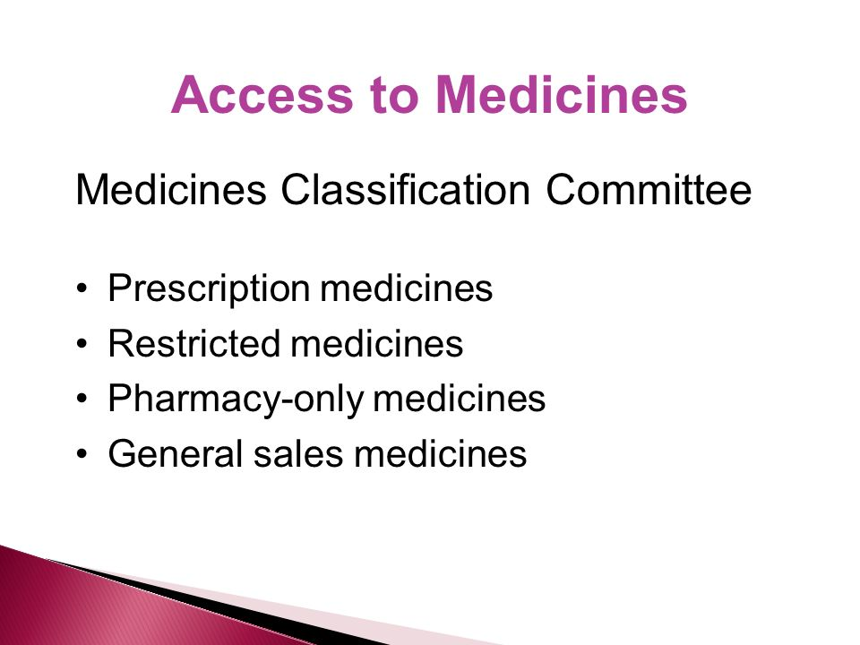 Access to Medicines Medicines Classification Committee Prescription medicines Restricted medicines Pharmacy-only medicines General sales medicines