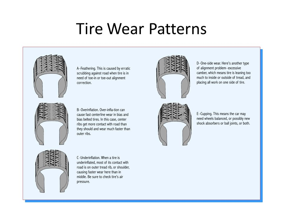 Problems usually show up as vibrations, abnormal tread wear