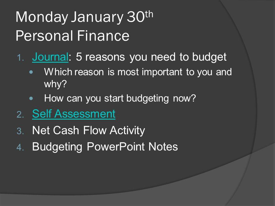 monday january 30 th personal finance 1 journal 5 reasons you need