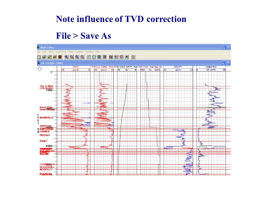 Note influence of TVD correction File > Save As