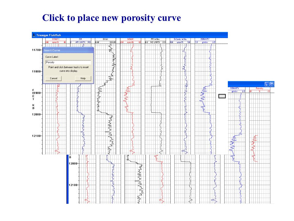 Click to place new porosity curve