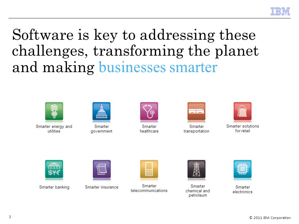 © 2011 IBM Corporation 3 Software is key to addressing these challenges, transforming the planet and making businesses smarter Smarter energy and utilities Smarter government Smarter healthcare Smarter solutions for retail Smarter banking Smarter insurance Smarter telecommunications Smarter chemical and petroleum Smarter electronics Smarter transportation