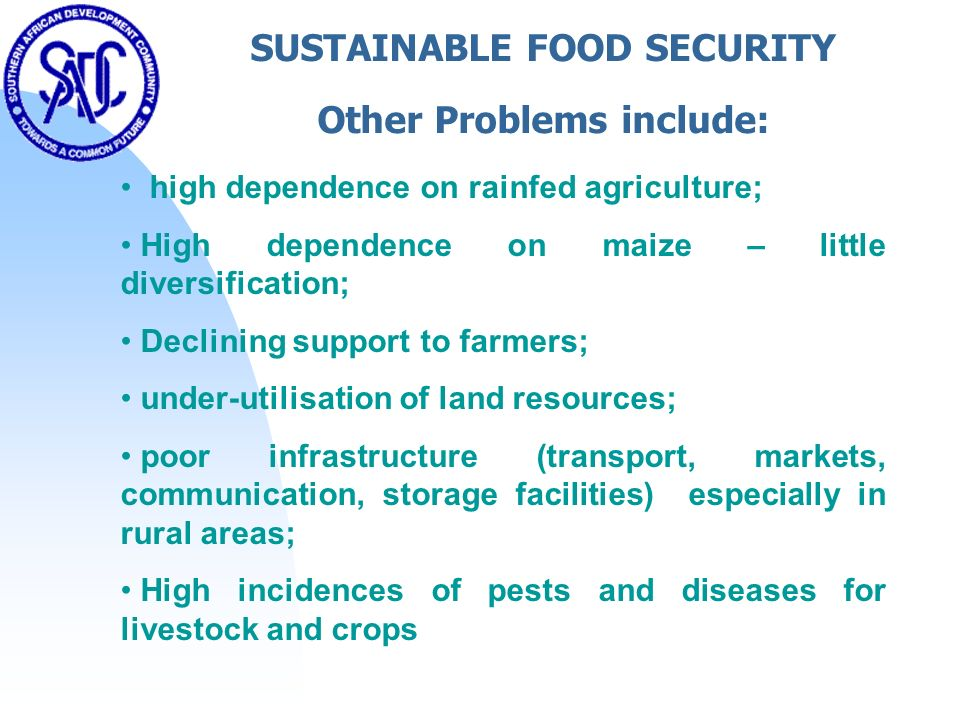 SUSTAINABLE FOOD SECURITY Other Problems include: high dependence on rainfed agriculture; High dependence on maize – little diversification; Declining support to farmers; under-utilisation of land resources; poor infrastructure (transport, markets, communication, storage facilities) especially in rural areas; High incidences of pests and diseases for livestock and crops