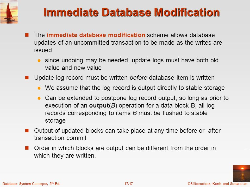 ©Silberschatz, Korth and Sudarshan17.17Database System Concepts, 5 th Ed.