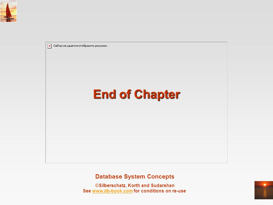 Database System Concepts ©Silberschatz, Korth and Sudarshan See   for conditions on re-usewww.db-book.com End of Chapter