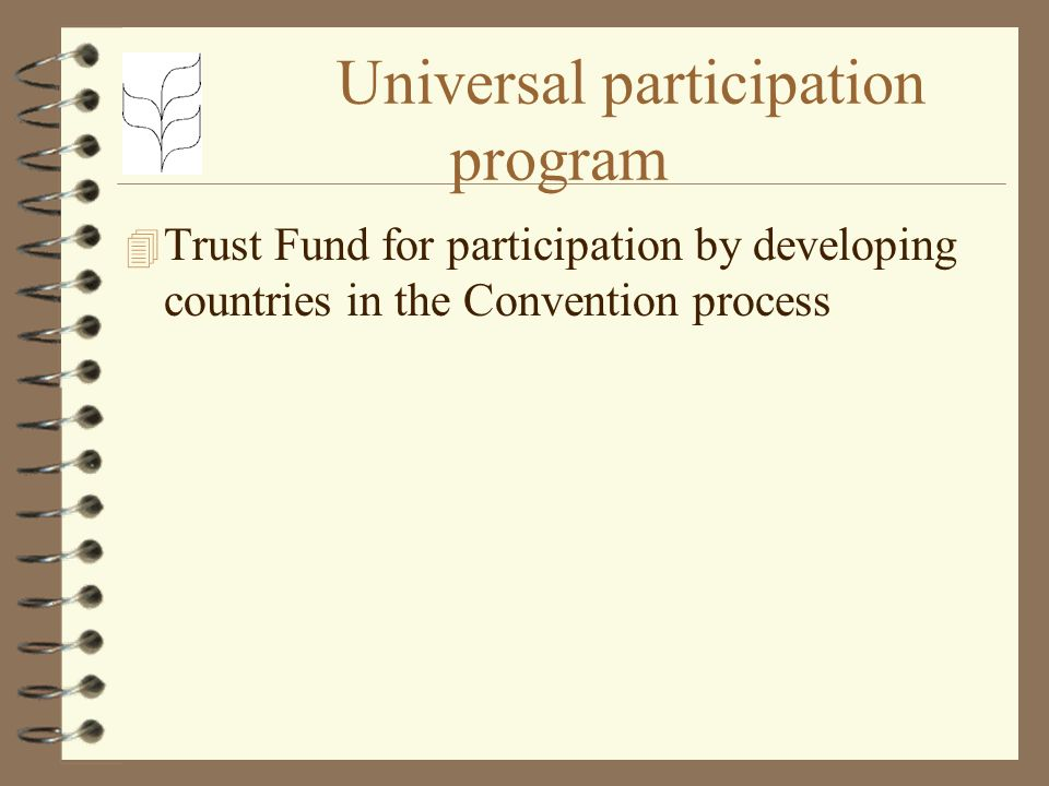 Universal participation program 4 Trust Fund for participation by developing countries in the Convention process