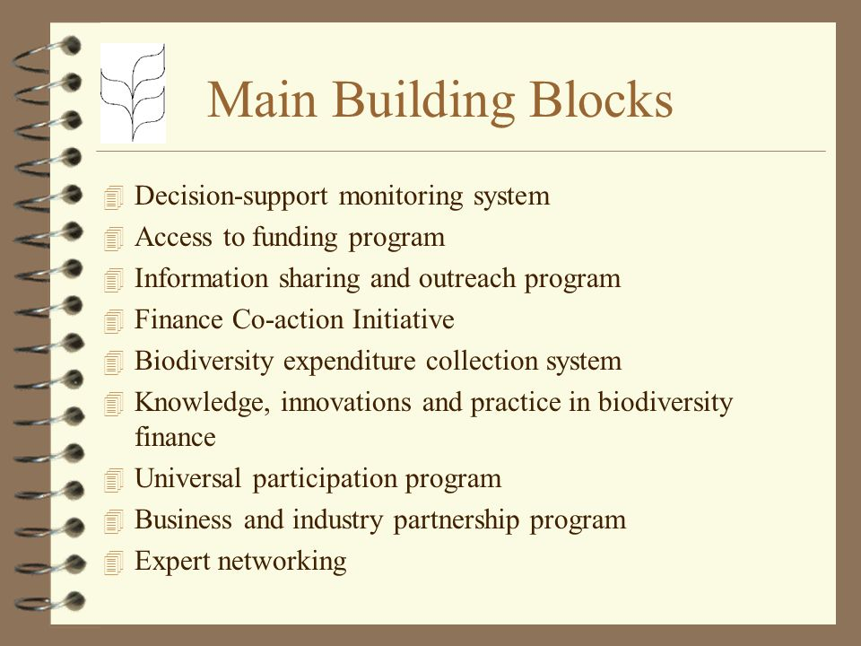 Main Building Blocks 4 Decision-support monitoring system 4 Access to funding program 4 Information sharing and outreach program 4 Finance Co-action Initiative 4 Biodiversity expenditure collection system 4 Knowledge, innovations and practice in biodiversity finance 4 Universal participation program 4 Business and industry partnership program 4 Expert networking