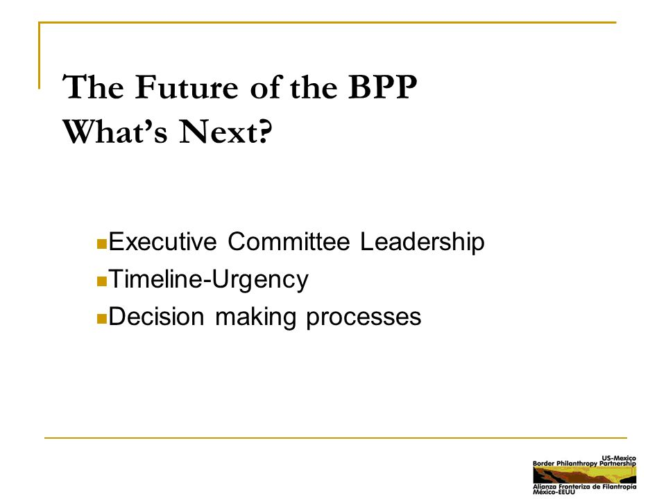 The Future of the BPP What's Next.