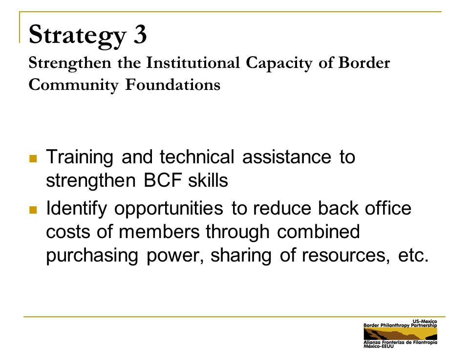 Strategy 3 Strengthen the Institutional Capacity of Border Community Foundations Training and technical assistance to strengthen BCF skills Identify opportunities to reduce back office costs of members through combined purchasing power, sharing of resources, etc.