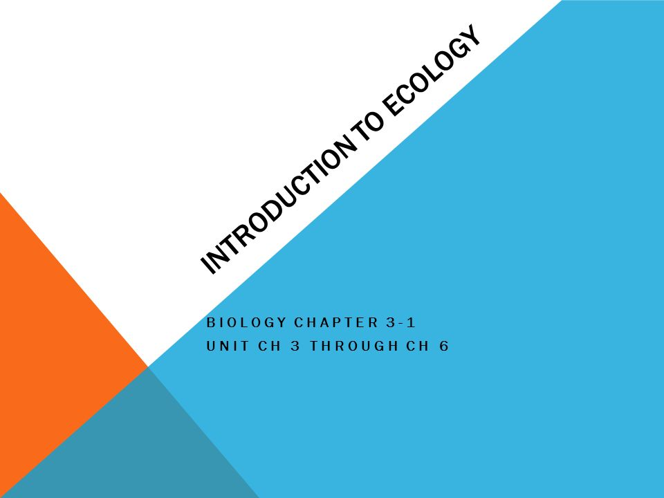 INTRODUCTION TO ECOLOGY BIOLOGY CHAPTER 3-1 UNIT CH 3 THROUGH CH 6