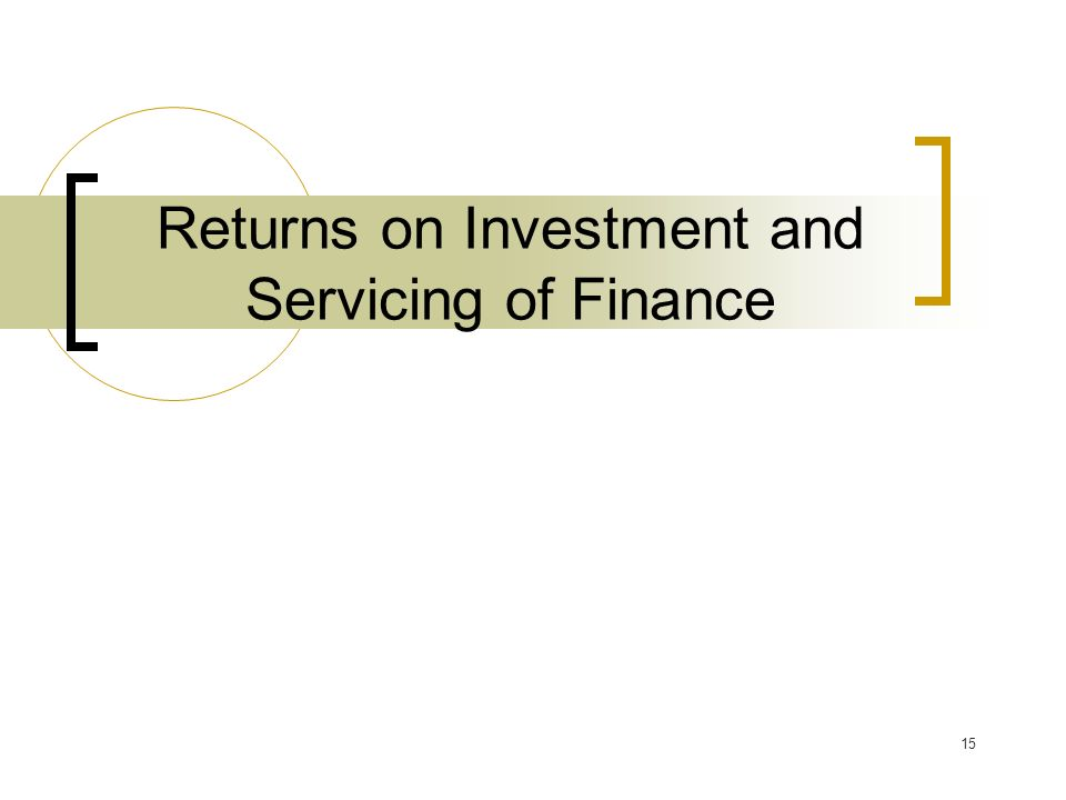15 Returns on Investment and Servicing of Finance
