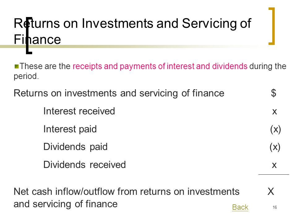 16 These are the receipts and payments of interest and dividends during the period.