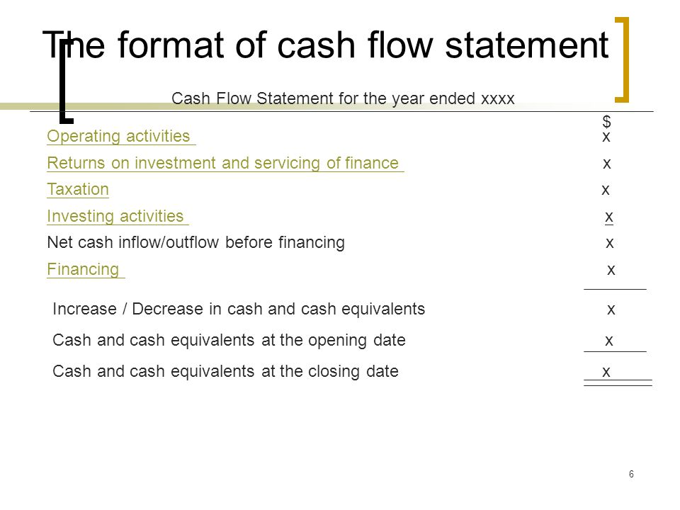 6 The format of cash flow statement Cash Flow Statement for the year ended xxxx $ Operating activities Operating activities x Returns on investment and servicing of finance Returns on investment and servicing of finance x TaxationTaxation x Investing activities Investing activities x Net cash inflow/outflow before financing x Financing Financing x Increase / Decrease in cash and cash equivalents x Cash and cash equivalents at the opening date x Cash and cash equivalents at the closing date x