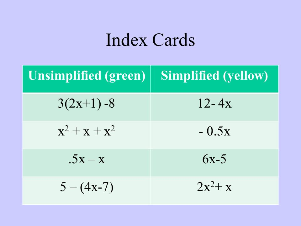 Index Cards Unsimplified (green)Simplified (yellow) 3(2x+1) x x 2 + x + x x.5x – x6x-5 5 – (4x-7)2x 2 + x