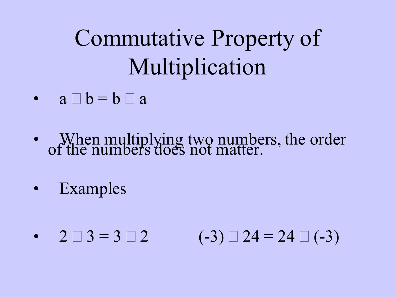 Commutative Property of Multiplication a  b = b  a When multiplying two numbers, the order of the numbers does not matter.